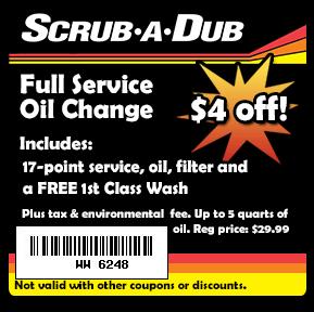 coupons for scrub a dub car wash